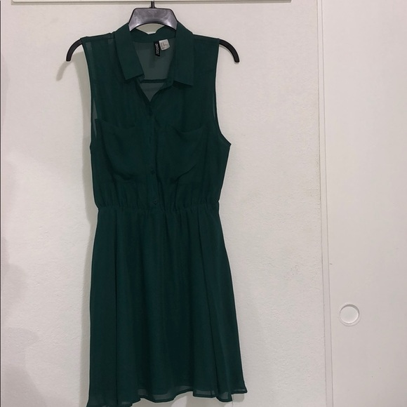 Divided Dresses & Skirts - Green collared Dress